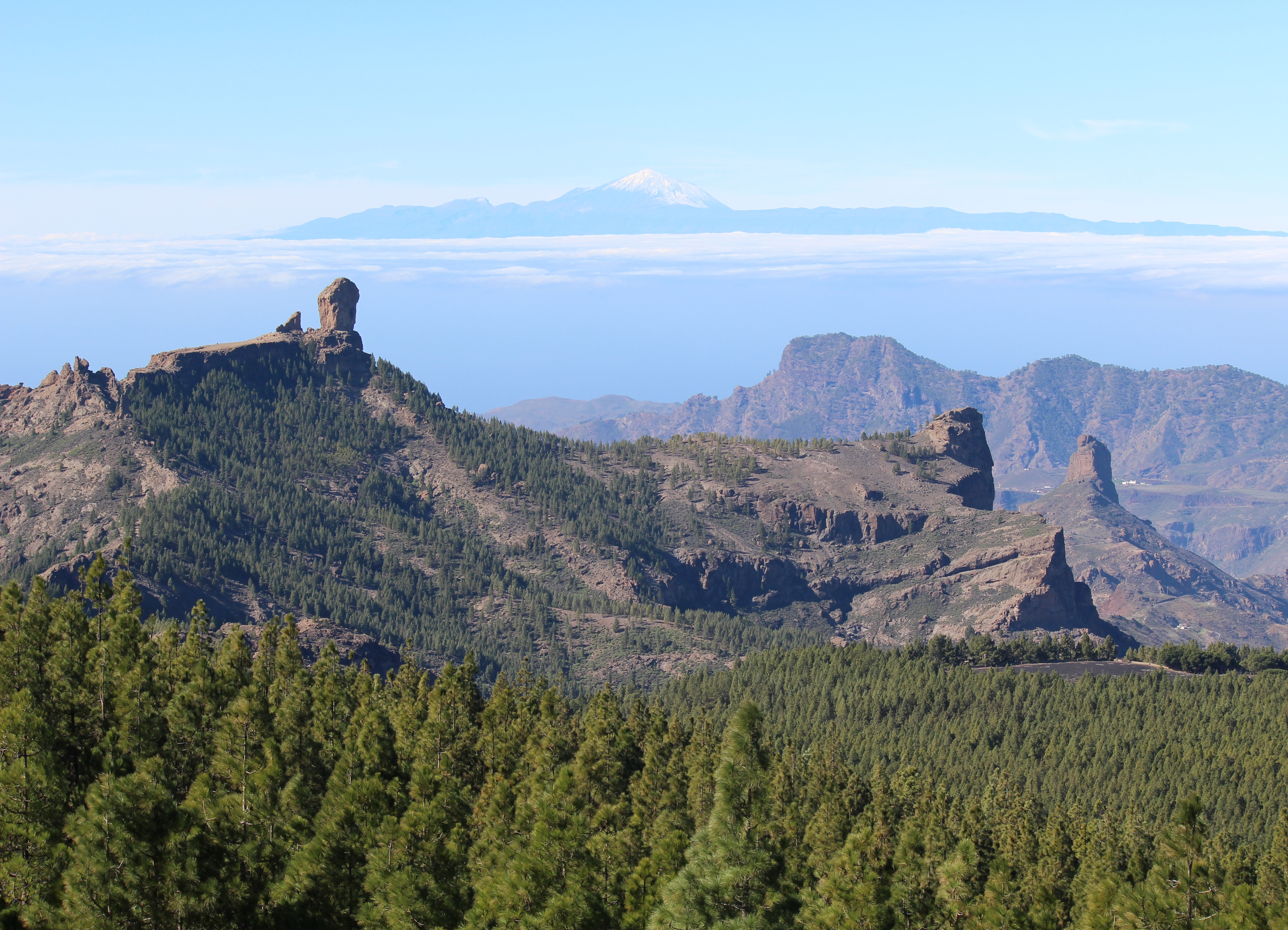 view on the Nublo rock and Tenerife from Gran Canaria