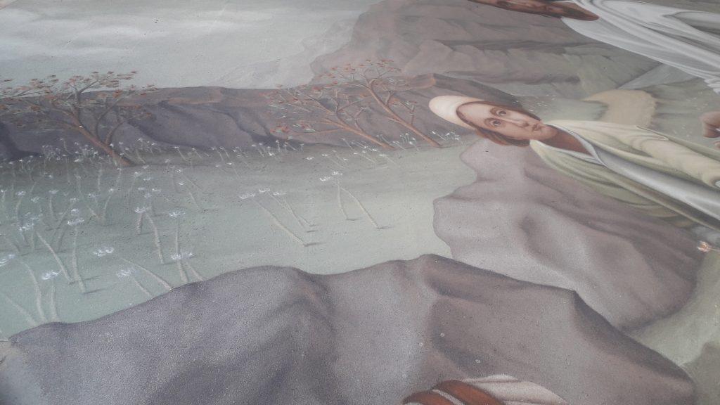 detalle de la alfombra de arena del Corpus Cristi