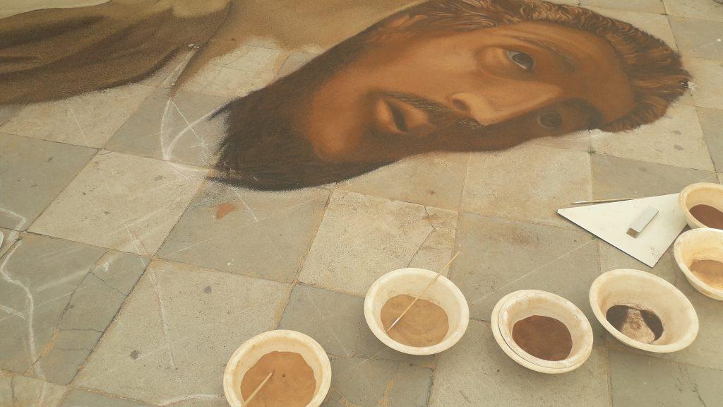 détail du tapis avec Saint François d'Assise