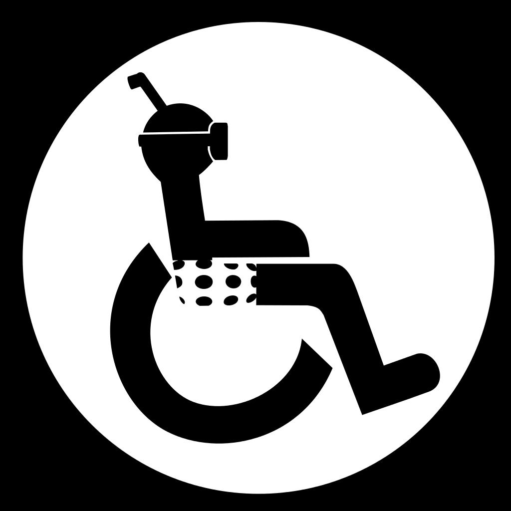 logo de personne en fauteuil roulant avec maillot, masque et tuba
