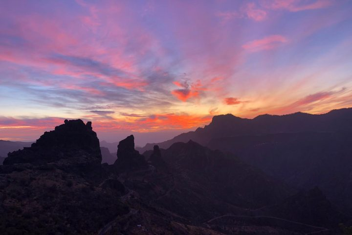 beautiful sunset on the top of Gran Canaria